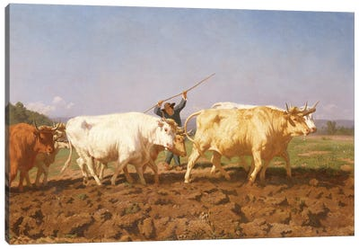 Detail Of Right Half, Ploughing In The Nivernais, 1850 Canvas Art Print
