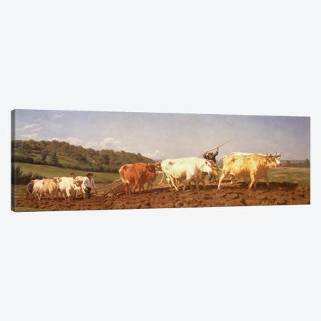 Ploughing In The Nivernais, 1850 (Private Collection) Canvas Print #BMN7546} by Rosa Bonheur Canvas Art