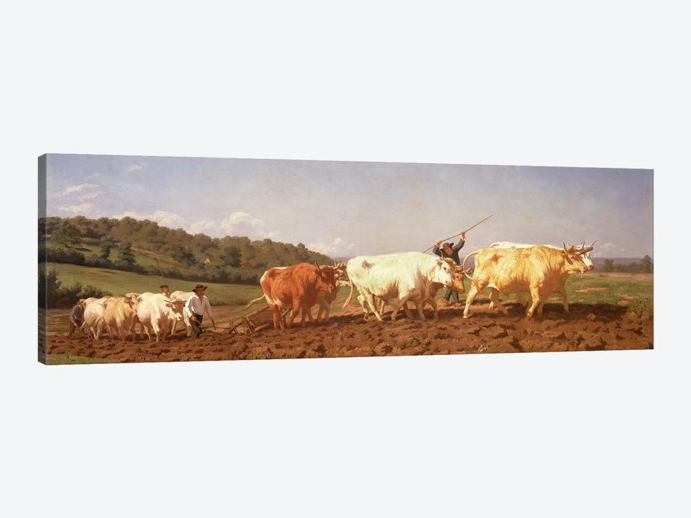 Ploughing In The Nivernais, 1850 (Private Collection) 1-piece Canvas Art Print