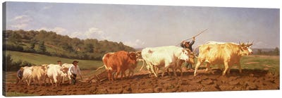 Ploughing In The Nivernais, 1850 (Private Collection) Canvas Art Print