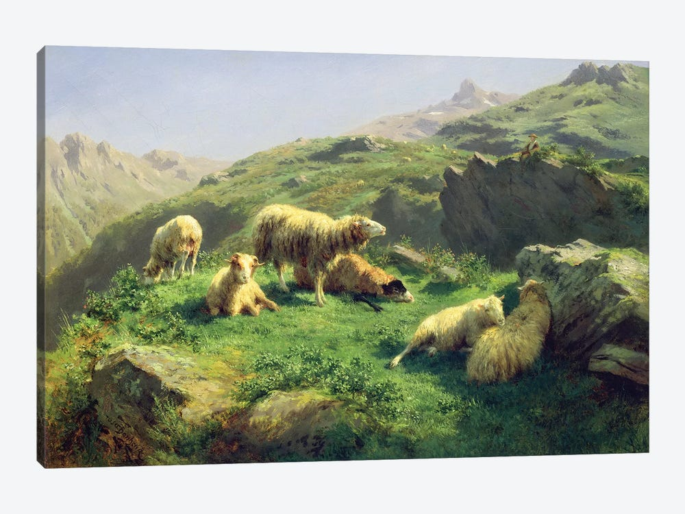 Sheep Grazing In The Pyrenees by Rosa Bonheur 1-piece Canvas Artwork