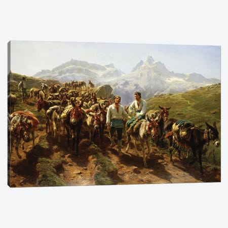 Spanish Muleteers Crossing The Pyrenees, 1857 Canvas Print #BMN7553} by Rosa Bonheur Canvas Wall Art