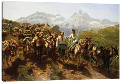 Spanish Muleteers Crossing The Pyrenees, 1857 Canvas Art Print