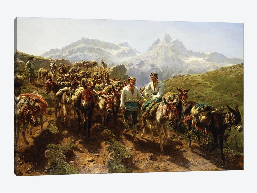 Spanish Muleteers Crossing The Pyrenees, 1857 by Rosa Bonheur 1-piece Canvas Art Print