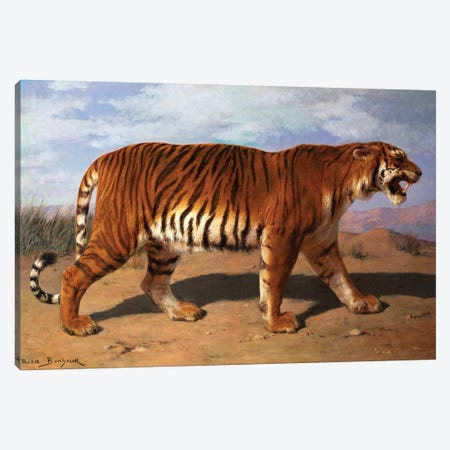 Stalking Tiger Canvas Print #BMN7554} by Rosa Bonheur Canvas Art Print