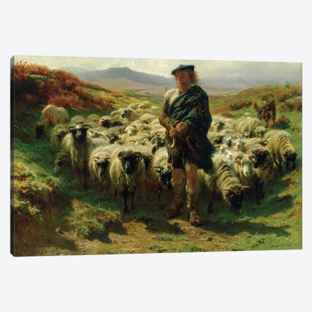 The Highland Shepherd (Oil On Canvas), 1859 Canvas Print #BMN7557} by Rosa Bonheur Art Print