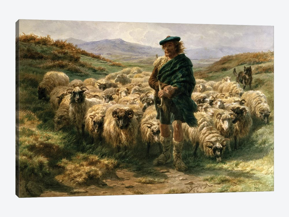 The Highland Shepherd (Watercolour) by Rosa Bonheur 1-piece Canvas Art