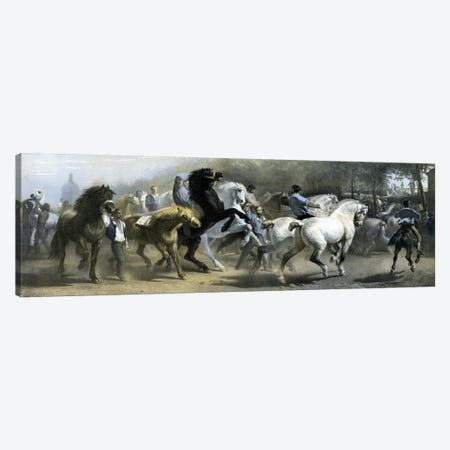 The Horse Fair (Colour Lithograph) Canvas Print #BMN7559} by Rosa Bonheur Canvas Artwork