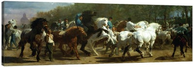The Horse Fair, 1852-55 (Oil On Canvas) Canvas Art Print