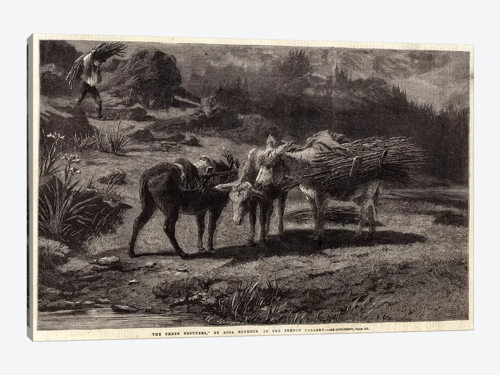 The Three Brothers (Illustration For The Illustrated London News), 13 April 1861 by Rosa Bonheur 1-piece Canvas Artwork