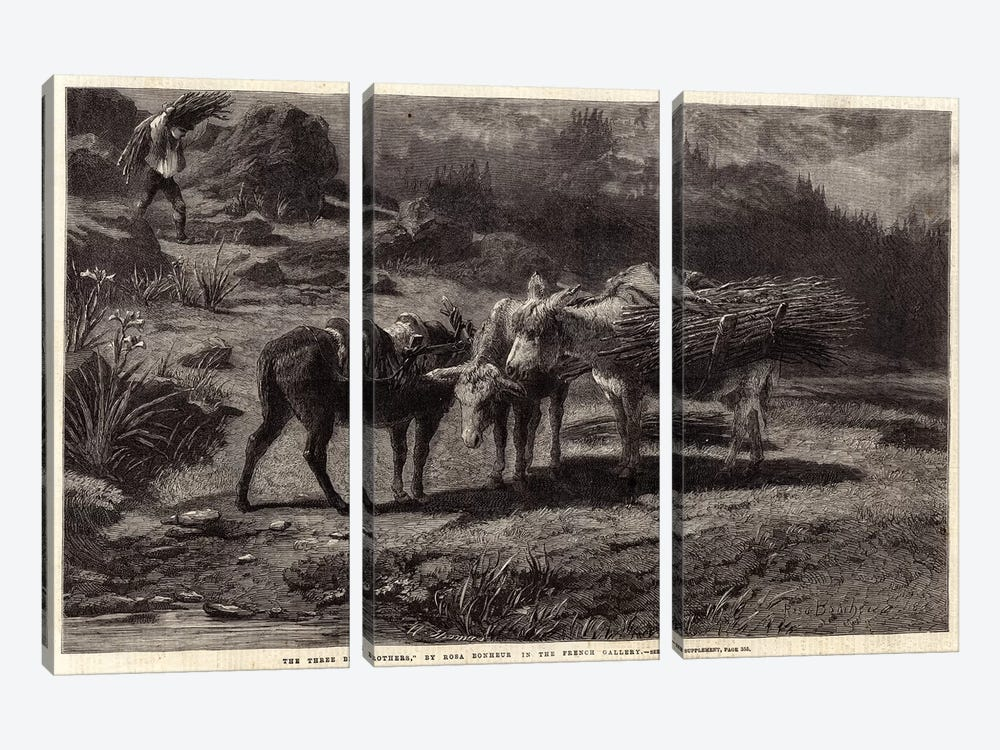 The Three Brothers (Illustration For The Illustrated London News), 13 April 1861 by Rosa Bonheur 3-piece Canvas Art
