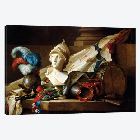 A Bust Of Minerva With Armour And Weapons On A Stone Ledge, 1777 Canvas Print #BMN7565} by Anne Vallayer-Coster Canvas Art
