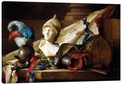 A Bust Of Minerva With Armour And Weapons On A Stone Ledge, 1777 Canvas Art Print