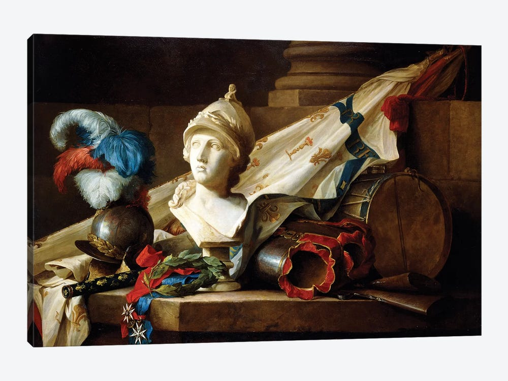 A Bust Of Minerva With Armour And Weapons On A Stone Ledge, 1777 1-piece Canvas Art