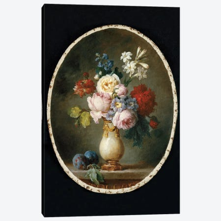 A Vase Of Flowers And Two Plums On A Marble Tabletop, 1781 Canvas Print #BMN7566} by Anne Vallayer-Coster Canvas Wall Art