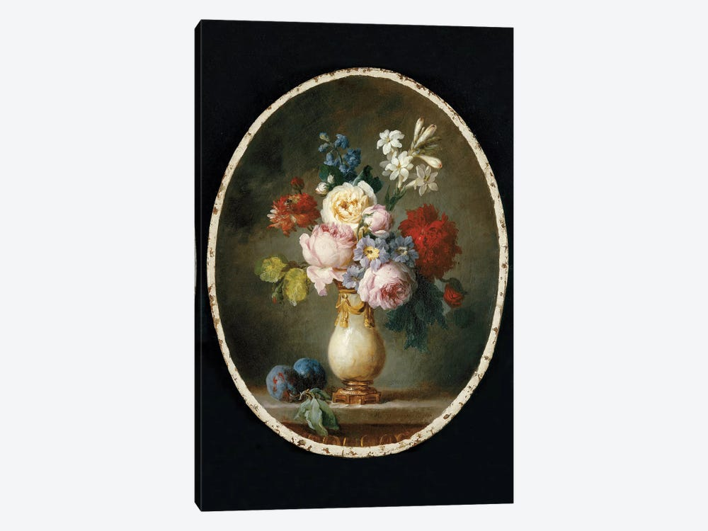 A Vase Of Flowers And Two Plums On A Marble Tabletop, 1781 by Anne Vallayer-Coster 1-piece Canvas Art Print