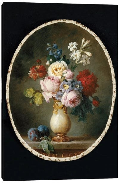 A Vase Of Flowers And Two Plums On A Marble Tabletop, 1781 Canvas Art Print