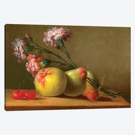 Carnations, Pears, Cherries And Apple On A Table Canvas Print #BMN7567} by Anne Vallayer-Coster Canvas Artwork