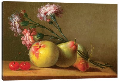 Carnations, Pears, Cherries And Apple On A Table Canvas Art Print