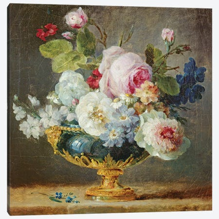 Flowers In A Blue Vase, 1782 Canvas Print #BMN7568} by Anne Vallayer-Coster Canvas Print
