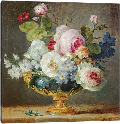 Flowers In A Blue Vase, 1782 Canvas Art Print