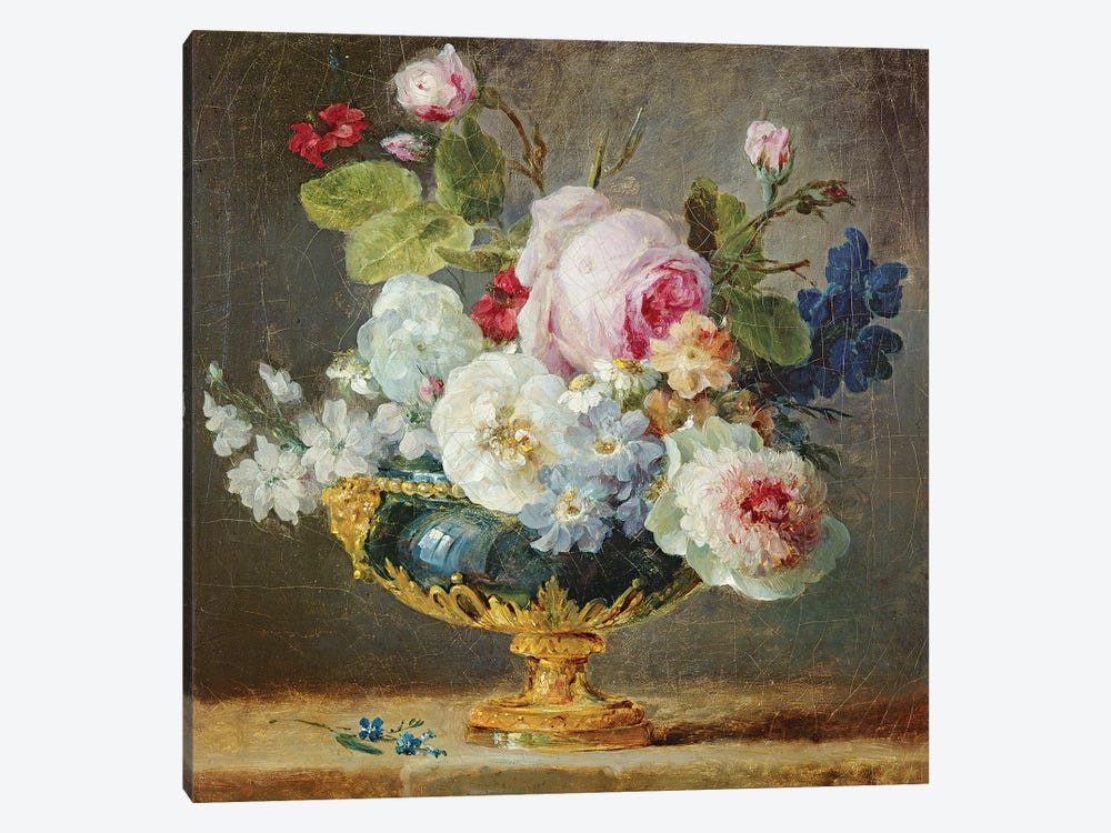 Flowers In A Blue Vase, 1782 by Anne Vallayer-Coster 1-piece Canvas Art Print