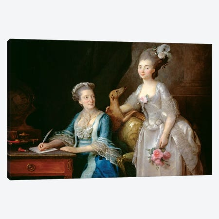 Portrait Of An Elderly Lady With Her Daughter Canvas Print #BMN7569} by Anne Vallayer-Coster Canvas Art Print
