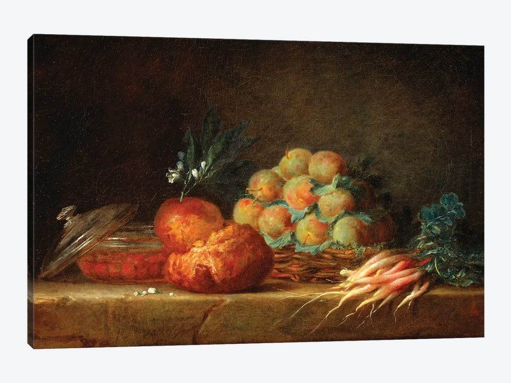 Still Life With Brioche, Fruit And Vegetables, 1775 by Anne Vallayer-Coster 1-piece Canvas Art Print
