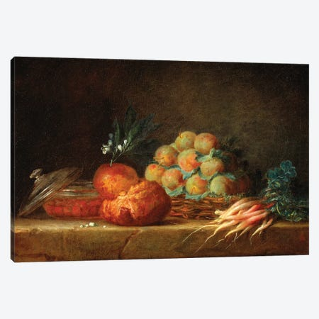 Still Life With Brioche, Fruit And Vegetables, 1775 Canvas Print #BMN7571} by Anne Vallayer-Coster Canvas Art