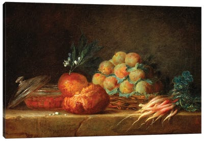 Still Life With Brioche, Fruit And Vegetables, 1775 Canvas Art Print