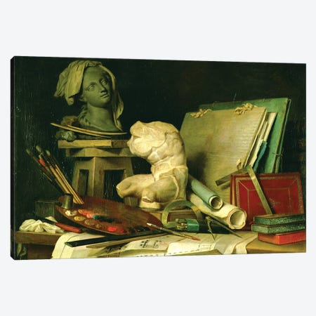The Attributes Of The Arts (Painting, Sculpture And Architecture), 1769 Canvas Print #BMN7573} by Anne Vallayer-Coster Canvas Artwork