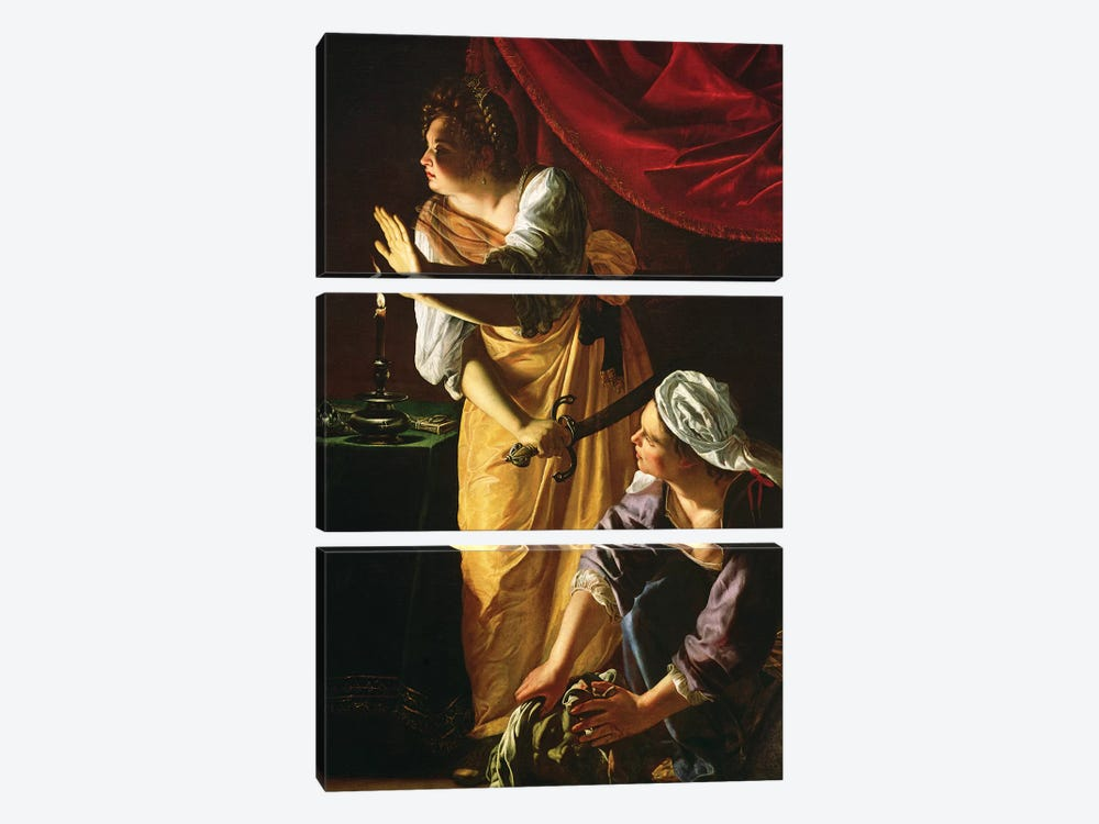 Judith And Maidservant With The Head Of Holofernes, c.1625 by Artemisia Gentileschi 3-piece Canvas Artwork