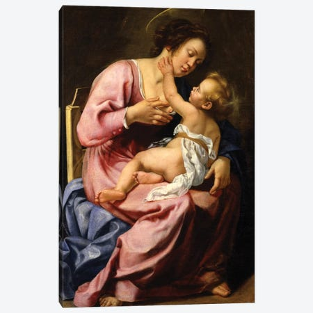 Madonna And Child Canvas Print #BMN7581} by Artemisia Gentileschi Canvas Art Print