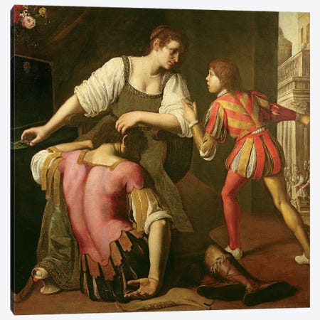 Samson And Delilah Canvas Print #BMN7584} by Artemisia Gentileschi Canvas Artwork