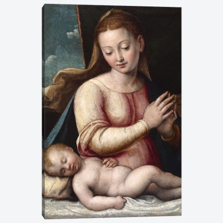Madonna Adoring The Child, c.1580-1600 Canvas Print #BMN7590} by Barbara Longhi Canvas Wall Art