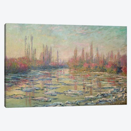 The Thaw on the Seine, near Vetheuil, 1880  Canvas Print #BMN759} by Claude Monet Canvas Artwork