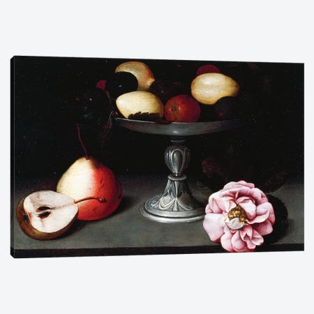 Stand With Plums, Pears And A Rose, c.1602 Canvas Print #BMN7601} by Fede Galizia Canvas Art