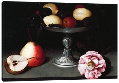Stand With Plums, Pears And A Rose, c.1602 Canvas Art Print