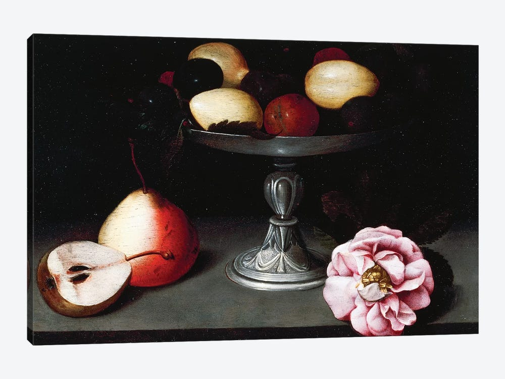 Stand With Plums, Pears And A Rose, c.1602 by Fede Galizia 1-piece Canvas Art