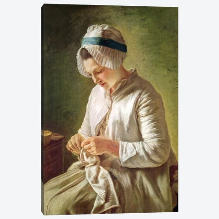 The Seamstress (Young Woman Working) Canvas Print #BMN7603} by Francoise Duparc Canvas Artwork