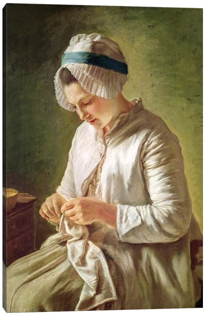 The Seamstress (Young Woman Working) Canvas Art Print
