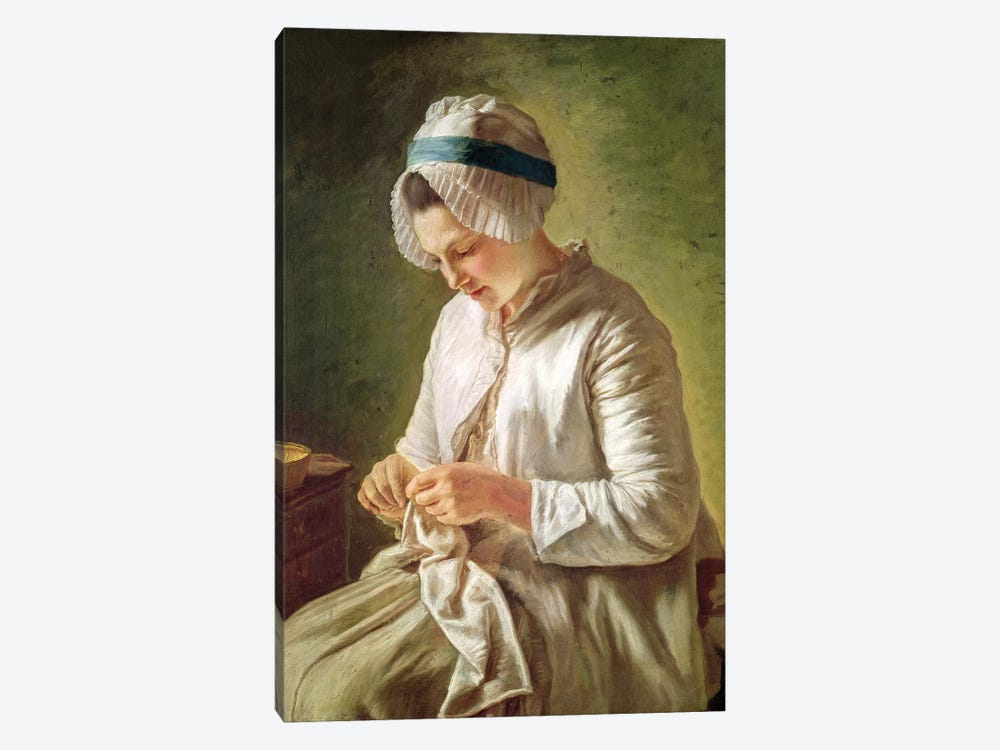The Seamstress (Young Woman Working) by Francoise Duparc 1-piece Canvas Art