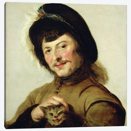 A Young Man With A Cat, 1635 Canvas Print #BMN7605} by Frans Hals the Elder Canvas Print