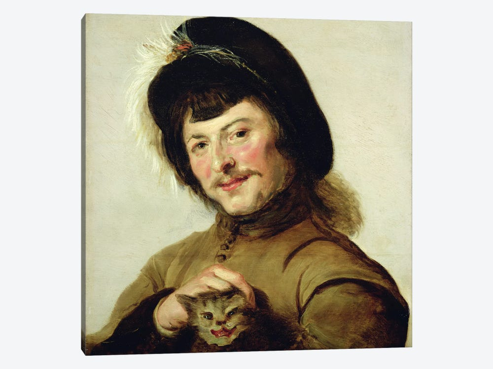 A Young Man With A Cat, 1635 by Frans Hals the Elder 1-piece Canvas Art