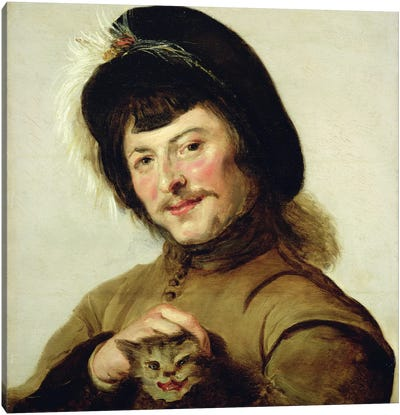 A Young Man With A Cat, 1635 Canvas Art Print