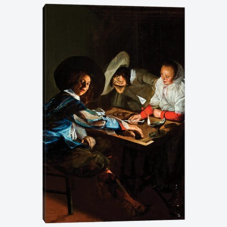 A Game Of Tric-Trac, c.1630 Canvas Print #BMN7608} by Judith Leyster Canvas Artwork