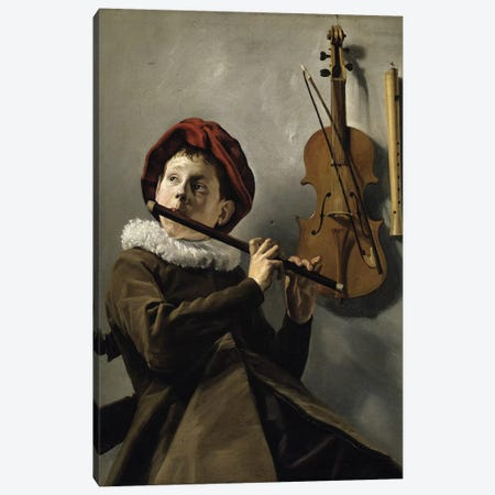 Boy Playing The Flute, c.1630 Canvas Print #BMN7609} by Judith Leyster Canvas Art