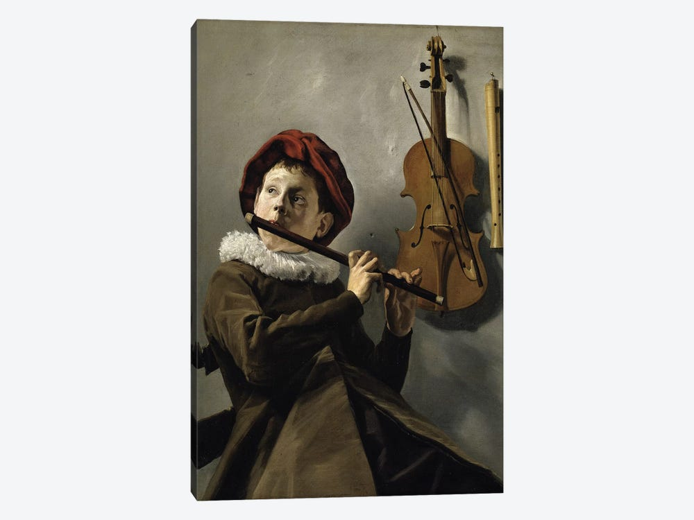 Boy Playing The Flute, c.1630 by Judith Leyster 1-piece Canvas Wall Art