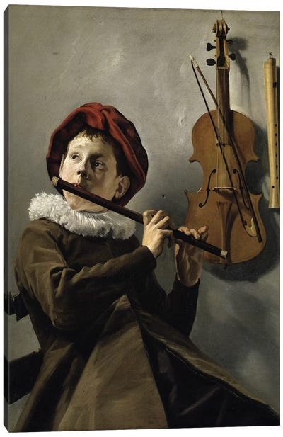 Boy Playing The Flute, c.1630 Canvas Art Print