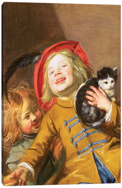Laughing Children With A Cat, 1629 Canvas Art Print